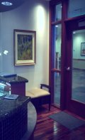 Commercial woodgrained interior door design color matched to floor & furnishings