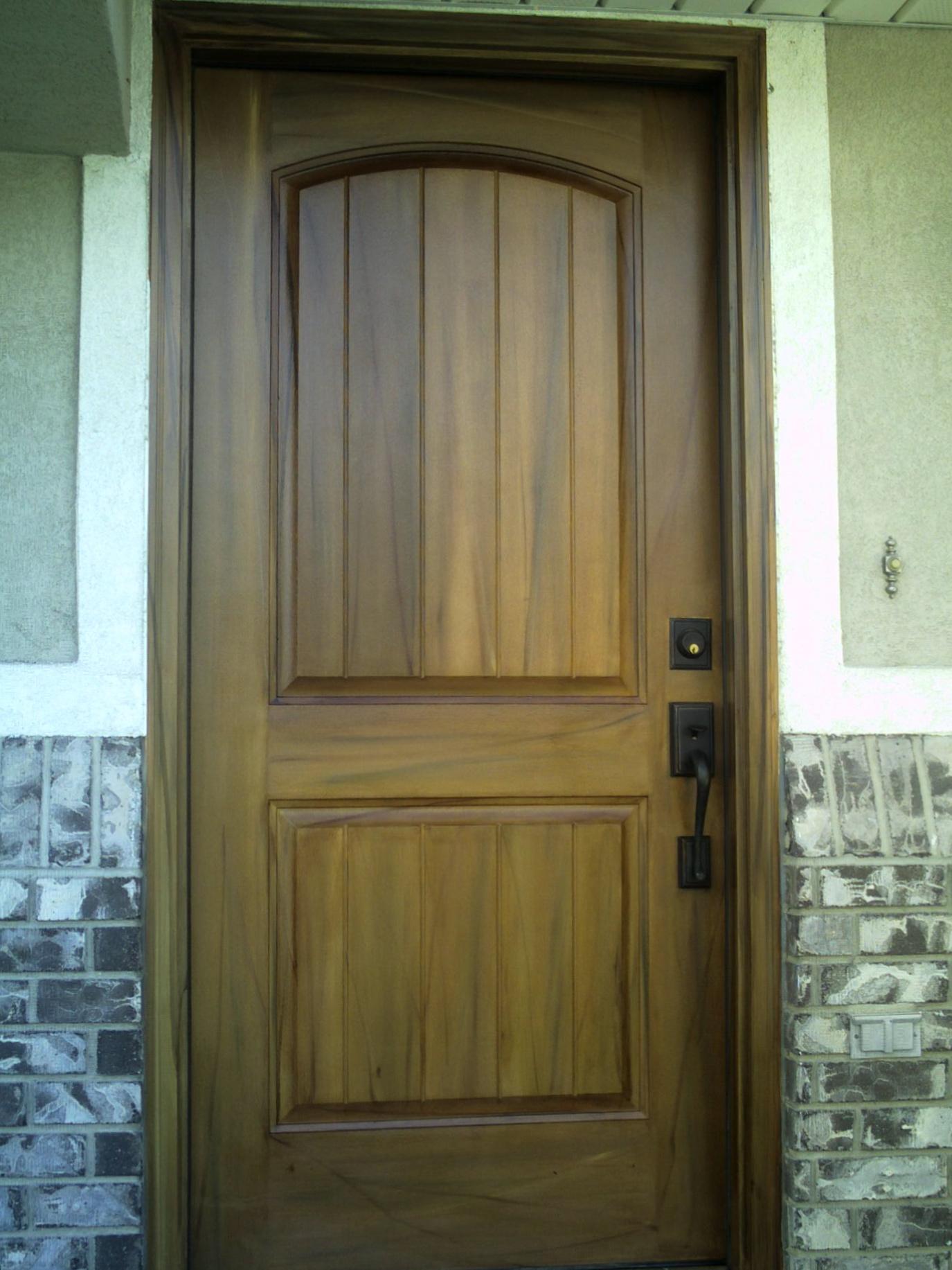 woodgrained walnut/fruitwood front door