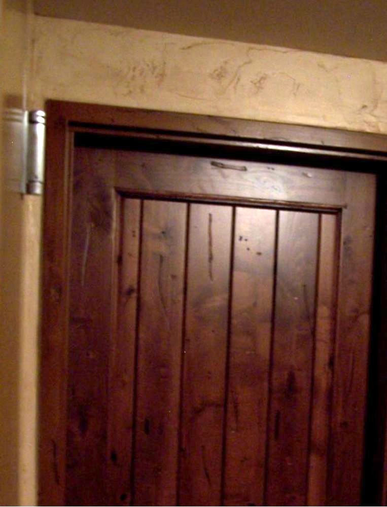 This Pictures Shows A Front View Of A Real Knotty Alderwood Door With A  Metal Door