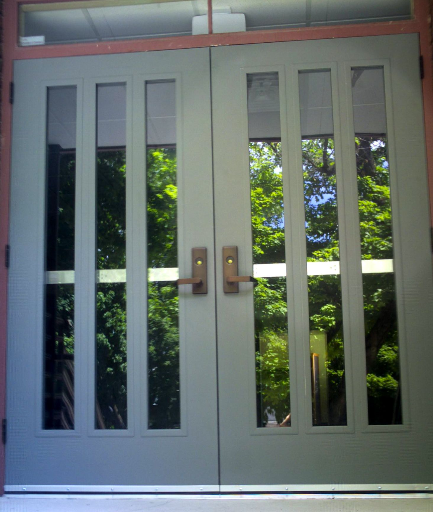 This Is A Picture Of The New Metal Doors At The West Entrance Of The First