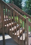 Side view of South deck stairs and railing