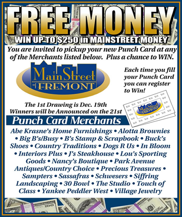Free Money Mainstreet of Fremont Punch Card
