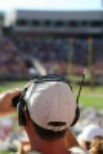 Sports Fan Using Binocular Eyeshields