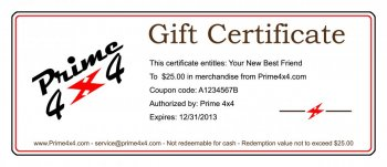 Prime 4x4 Gift Certificate off road expedition rig jeep jeeping wheeling prime 4x4