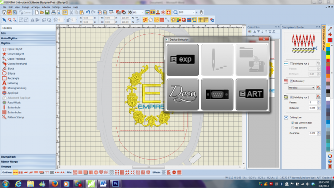Send your embroidery design to your sewing machine BERNINA v7 Sofware classes Vanessa Empire Studio BERNINA