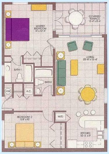 Regal Beach Club - Two-bedroom Floor Plan