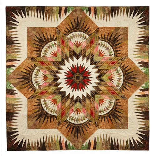 Freehand Quilting, Large, 1st Place: 'Fall N Star' by Brandy Rice