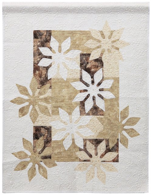 Freehand Quilting, Large, 2nd Place: 'Snowflakes' by Michele Byrum, quilted by Laurel Keith