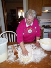 Jacque making grebel on Christmas morning.