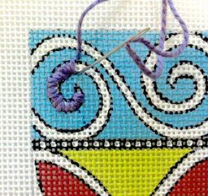stitch a needlepoint curve spiral satin stitch