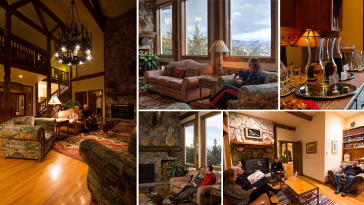 Different views of the inside of Taharaa Mountain Lodge in Estes Park