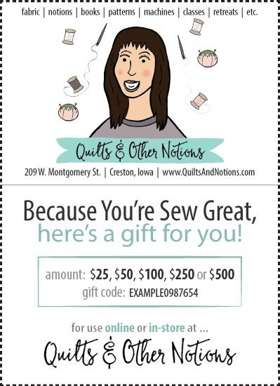 Quilts & Other Notions Gift Certificates now available for online & in-store use!