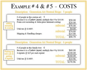 family tree example #4 & #5 cost breakdown