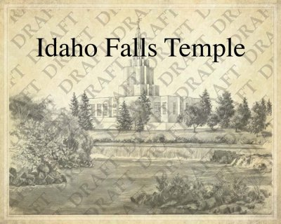Idaho Falls LDS Temple as a background for a Family Tree
