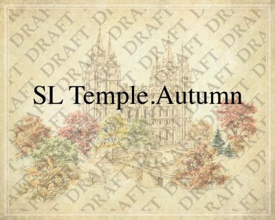 Salt Lake LDS Temple in the autumn as a background for Family Trees