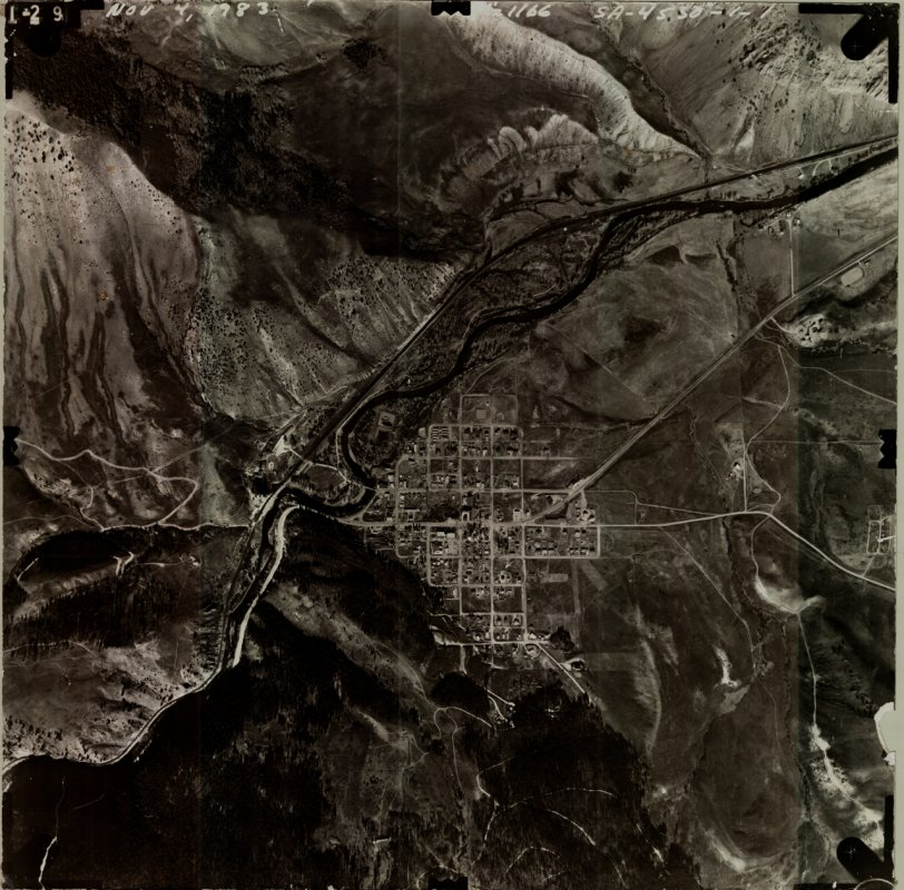 Hot Sulphur Springs aerial overhead view - 1983