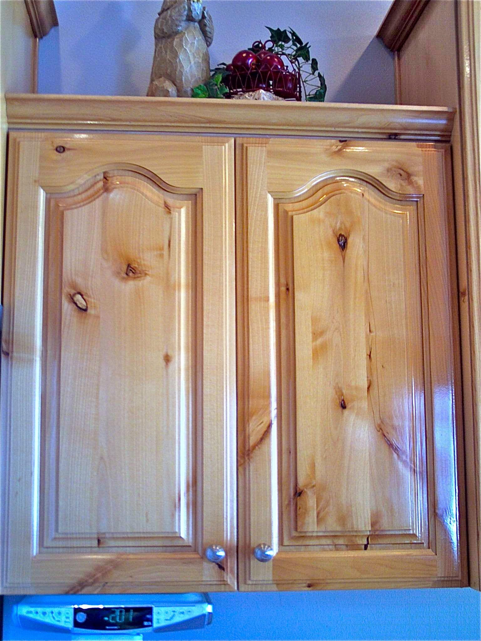 Closeup Cabinet View Of Original Finish Knotty Alderwood