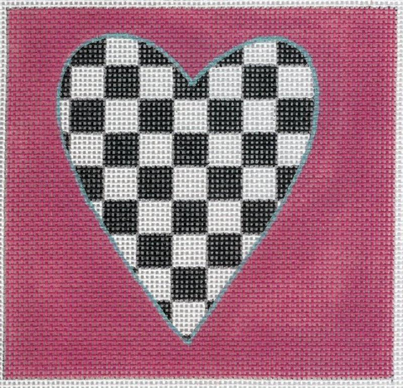 Raspberry Black & White Heart
