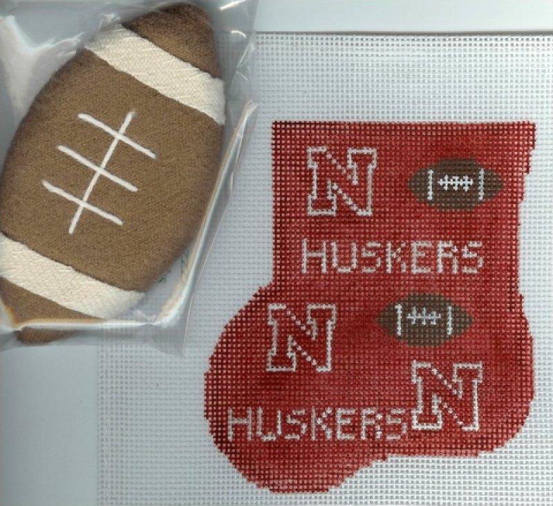 Nebraska mini stocking w/football