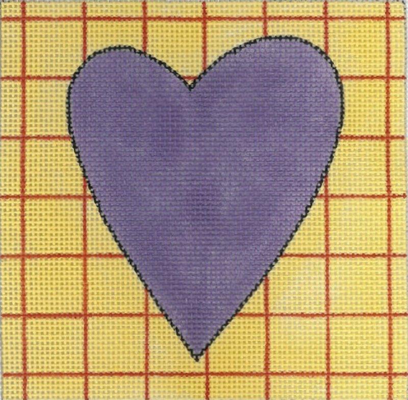 Purple Yellow & Red Plaid Heart