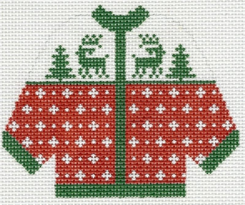 Cardigan Red with Green Reindeer Ornament