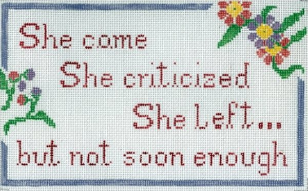 She Came, She Criticized...