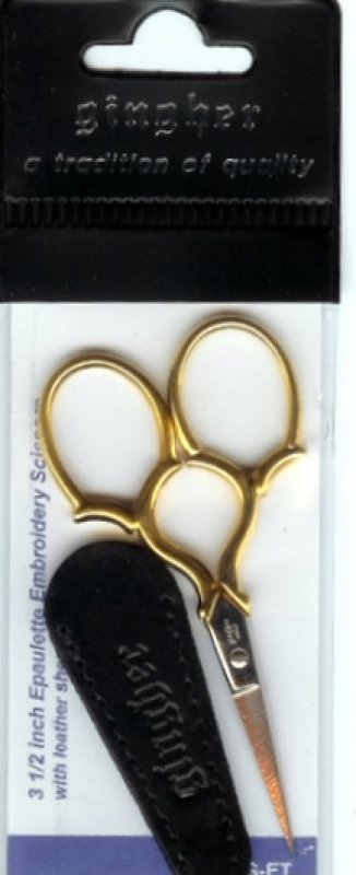 Gingher Gold Handled Epaulette Embroidery Scissors 3-1/2