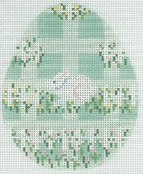 Egg Aqua Plaid Easter with Bunny