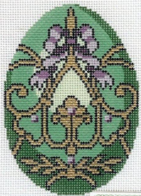 Faberge Egg -  Green & Lavendar