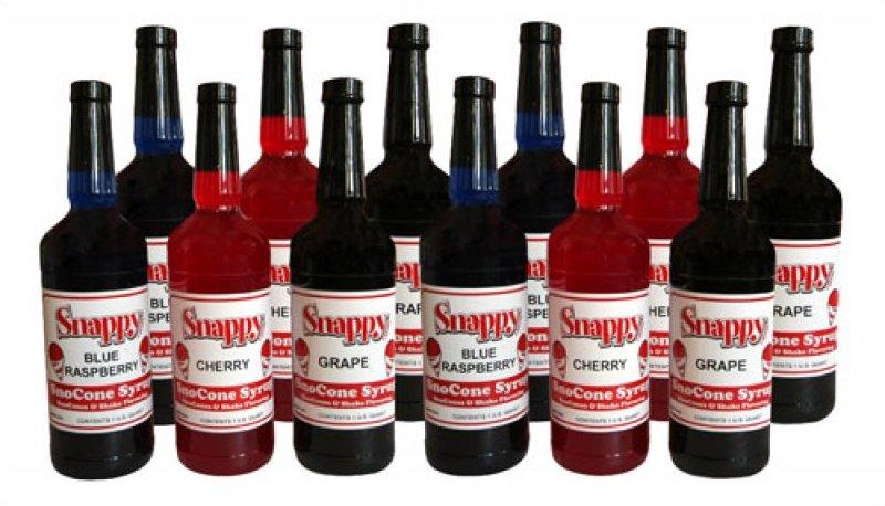 Snappy Sno Cone Syrup Mixed Case Quarts
