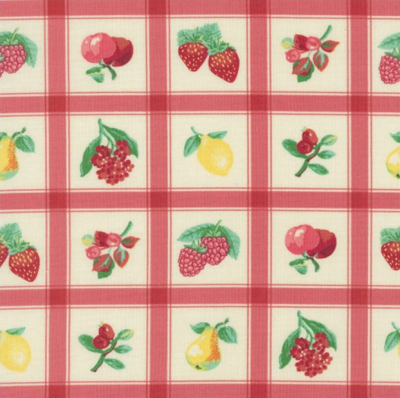 Momma's Apron Strings (Plaid & Fruit Pattern) - Pink