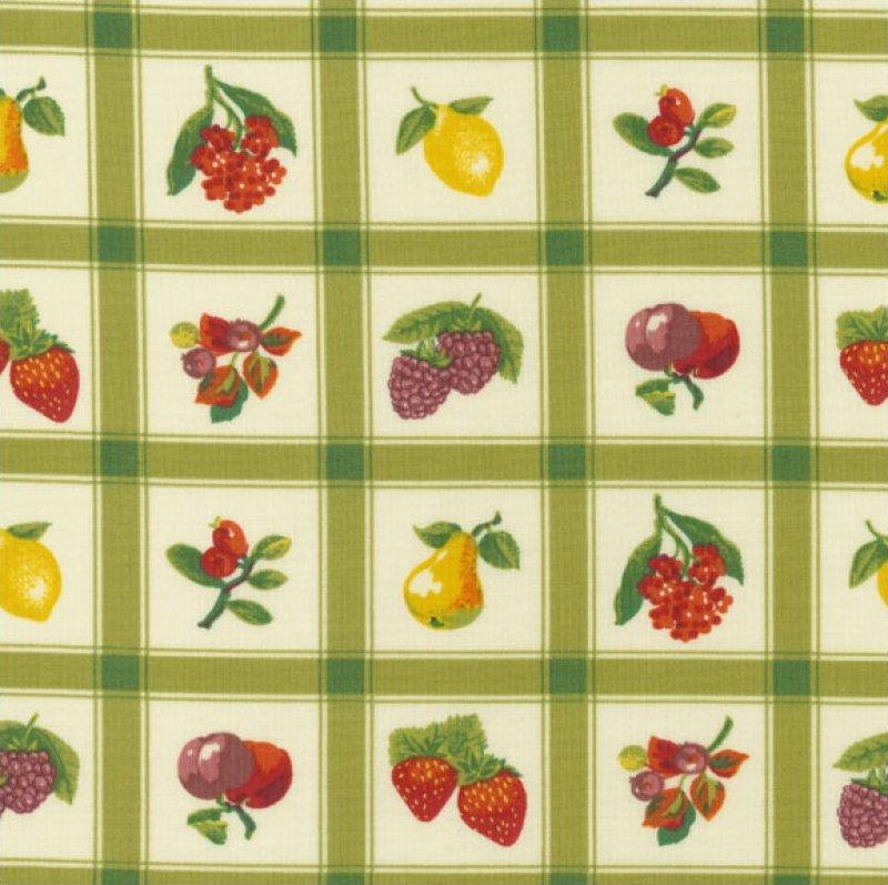 Momma's Apron Strings (Plaid & Fruit Pattern) - Green