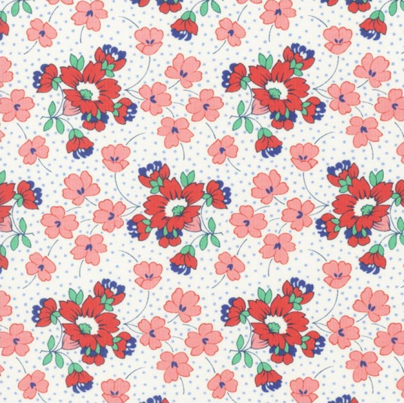 Momma's Apron Strings (Floral Dot Print) - White/Blue