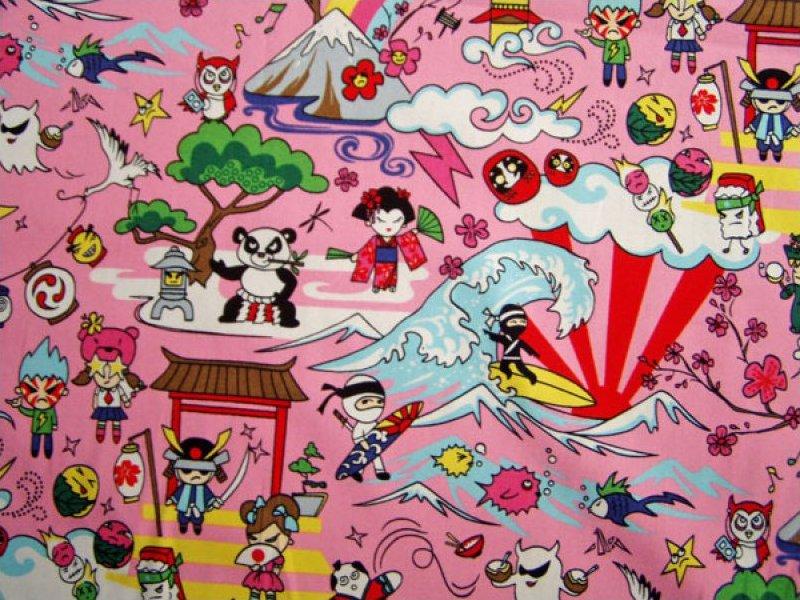 Asian Character Print - Pink
