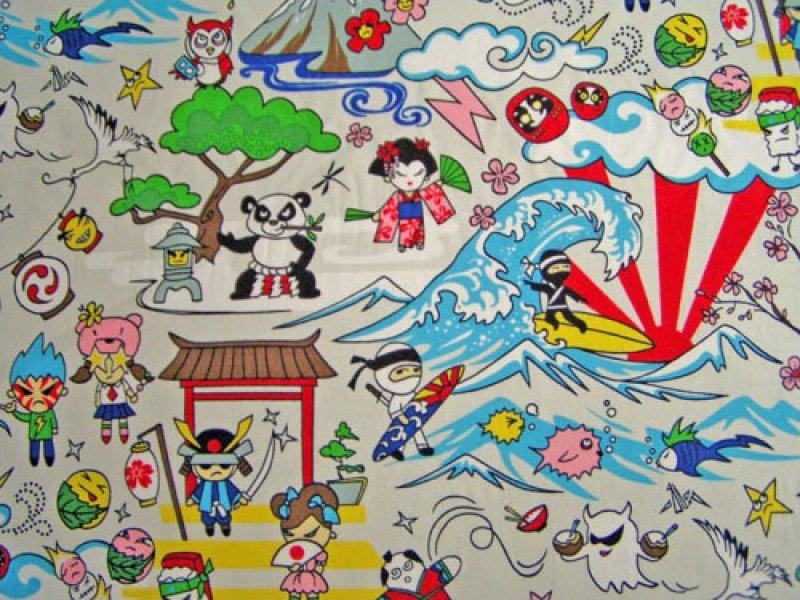 Asian Character Print - Silver