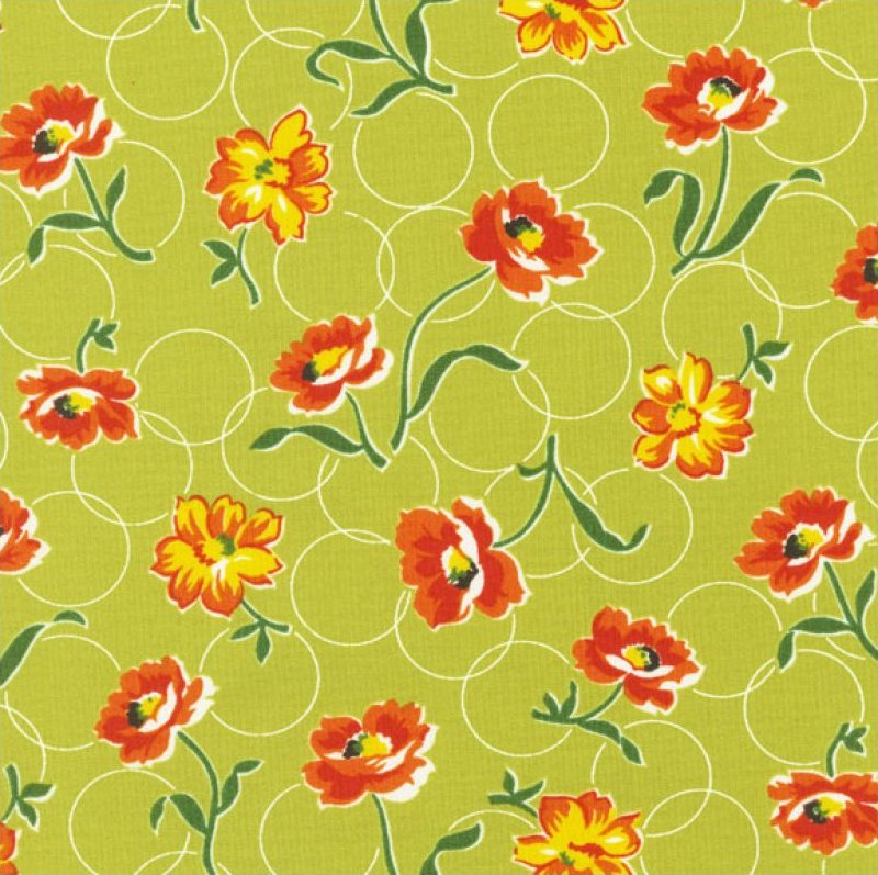 Momma's Apron Strings (Circles & Flowers) - Green