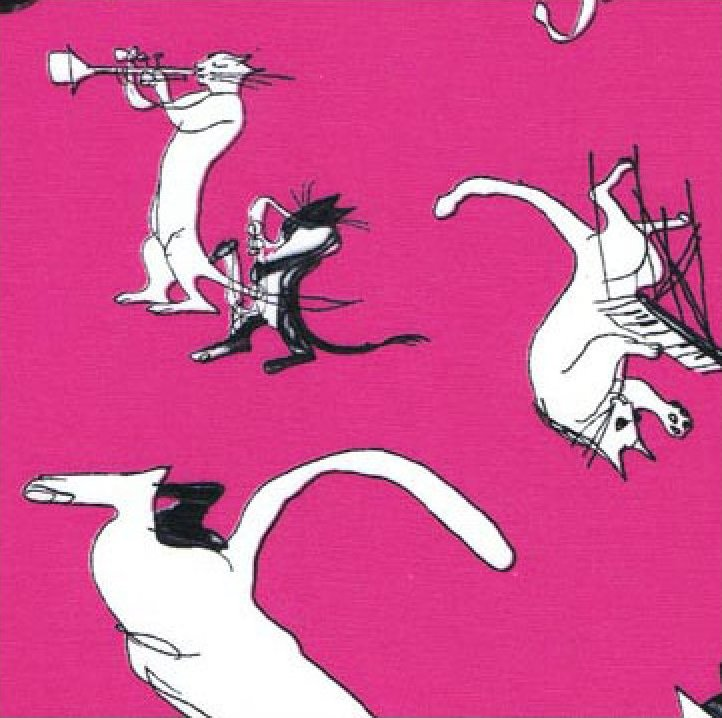 Cool Cats - Black & White on Pink