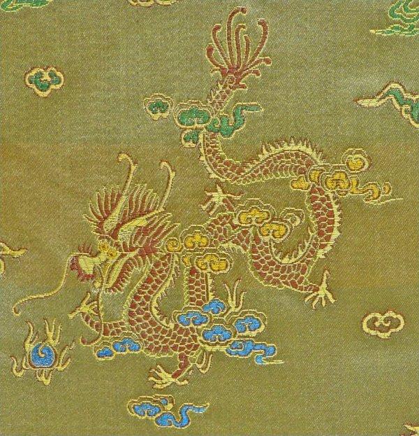 Dragon / Peacock Brocade - Gold