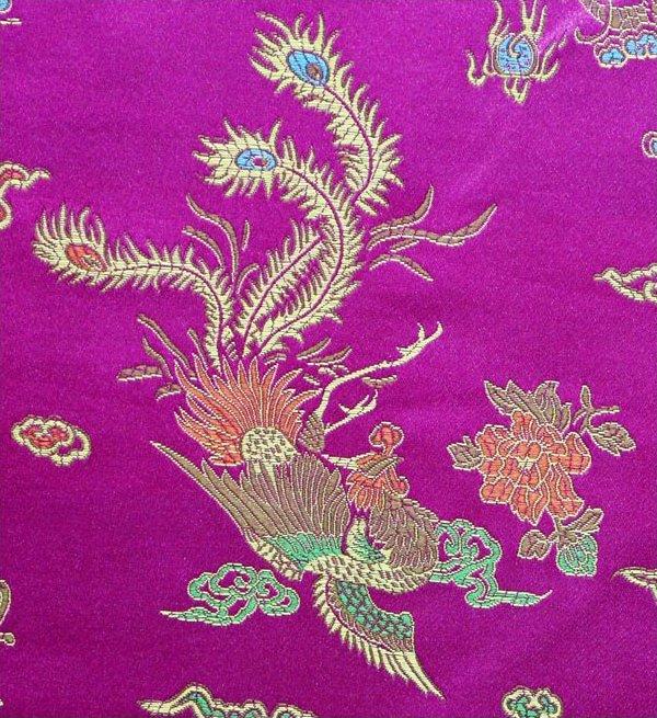 Dragon / Peacock Brocade - Fuschia
