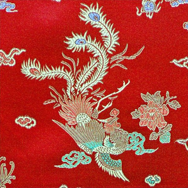 Dragon / Peacock Brocade - Red