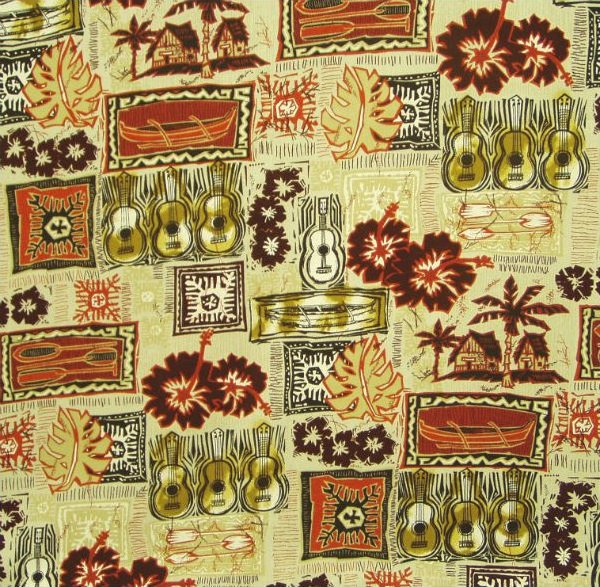 Hawaiian Block Print - Burgundy