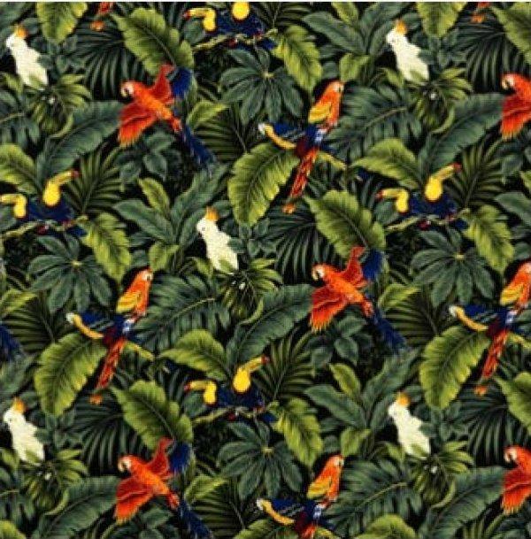 Tropical Birds & Leaves - Black