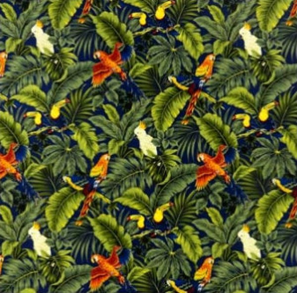 Tropical Birds & Leaves - Navy