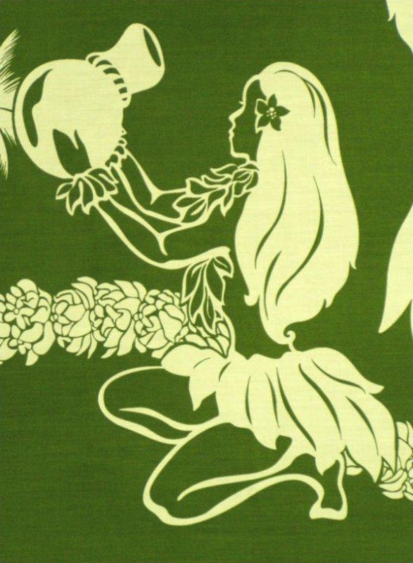 Hula Border Print - Fern / Natural