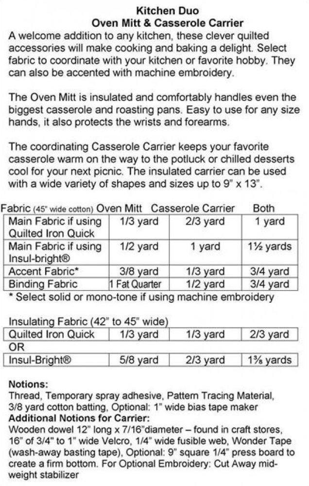 Kitchen Duo Oven Mit & Casserole Carrier Pattern