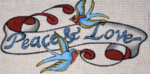 Tattoo Needlepoint<BR>Peace and Love
