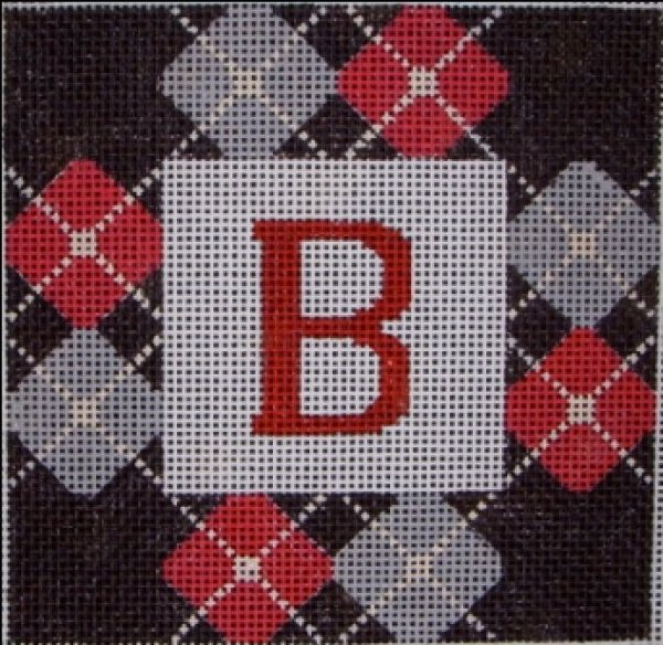 Beth Gantz Needlepoint Black & Red Preppy