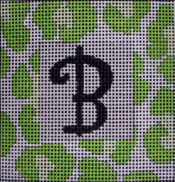 Beth Gantz Needlepoint Green Leopard Alphabet