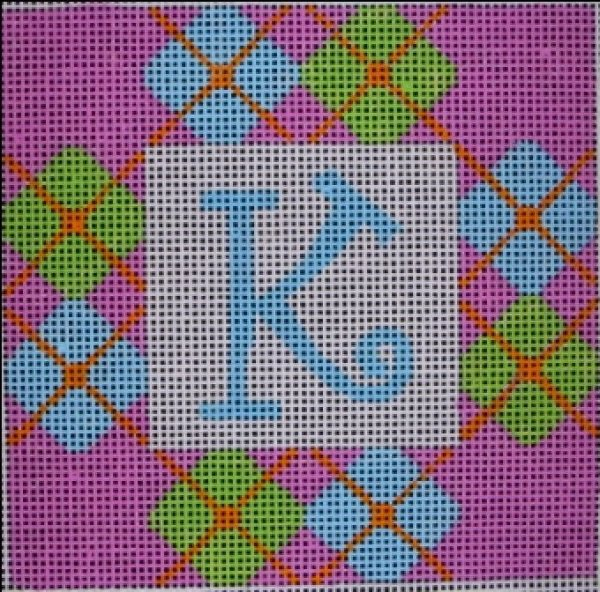 Beth Gantz Needlepoint Pink & Blue Preppy