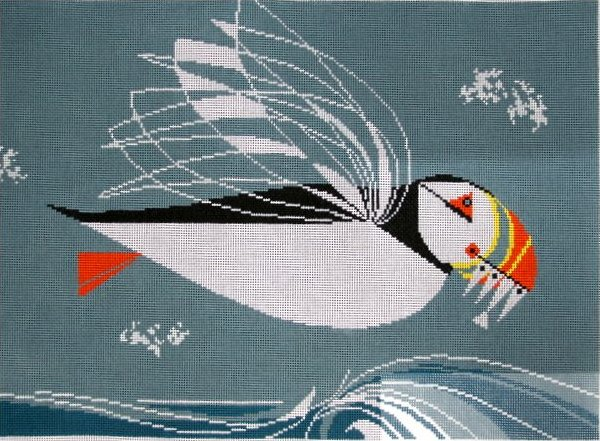 Charley Harper Needlepoint Puffin In Flight